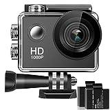 Bestsmile 170° objectif grand angle Full HD 5,1cm LCD 30m Caméra d'action d'écran étanche avec 2piles rechargeables et tous les accessoires nécessaires kit