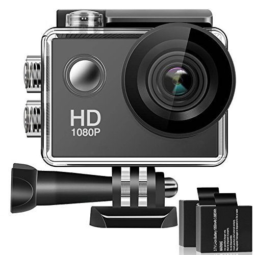 170° Wide Angle Lens 4K Full HD 2 Inch LCD 98Ft Waterproof Screen Action Camera with 2 Rechargeable Batteries and...