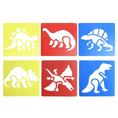 ZOUCY Schilderij Tool, 6 Stukken Plastic Dinosaur Foto Tekenen Sjabloon Stencils Linialen Schilderij Kids DIY - Kleur willekeurig