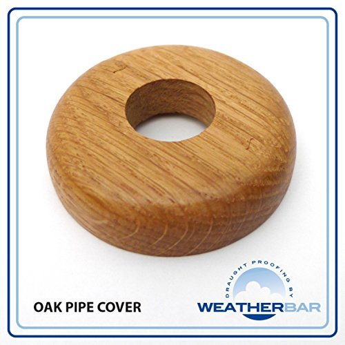 Solid Oak Lacquered Radiator Pipe Cover, Pipe Rose. 2 Part Jigsaw Construction. Sold as a Pair (Enough for One Radiator)