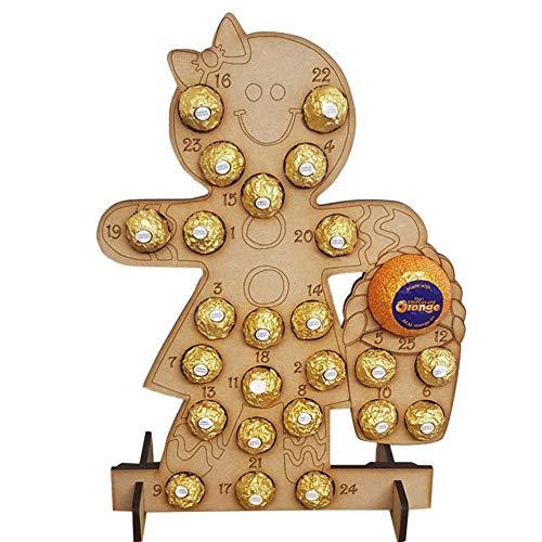 Calendario de Adviento de Madera, Calendario de Adviento de Navidad de Madera Hecho a Mano Hueco Cuenta atrás Árbol de Navidad Soporte de Chocolate Decoración para el hogar, (sin Chocolate), 40X30 cm