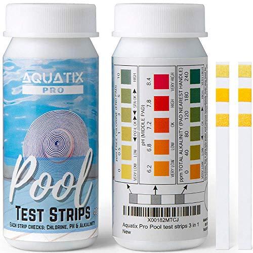 Aquatix Pro Pool-Teststreifen, 40 Stück, 3-Wege-Wasserteststreifen für Schwimmbad, Spa und Whirlpool, überprüft freies Chlor, pH-Wert und Alkalinität, Wasserchemie-Set, genaue Ergebnisse