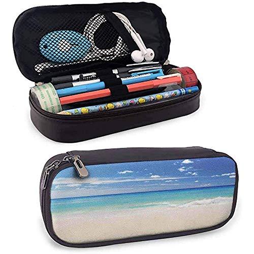 Ocean Federmäppchen Tropical Haven Style Sandy Shore und Meer mit Wellen Escape to Paradise Theme Creme Türkis Weiß