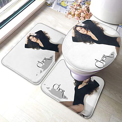 Cher Bathroom Mat Sets 3 Piece Set Rugs Memory Foam Mat Set Toilet Seat Cover Bath Mat Lid Cover