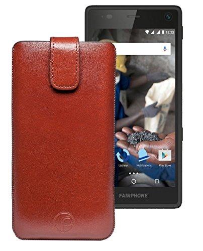 Favory Tasche Leder Etui / Fairphone 2 / ECHT Ledertasche Hülle Schutzhülle (Lasche mit Rückzugfunktion) braun
