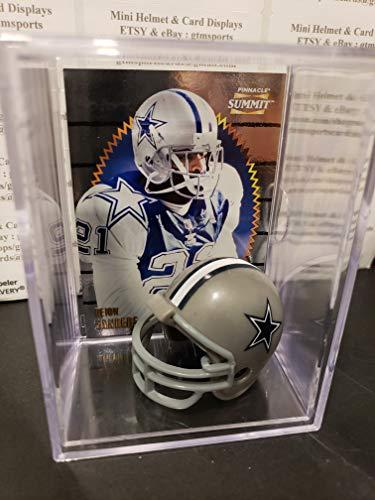 Deion Sanders Dallas Cowboys Mini Helmet Card Display Case Collectible HOF Auto Shadowbox Autograph