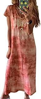 MU2M Women's Short Sleeve Tie Dye Print Slit V-Neck Casual Maxi Dress