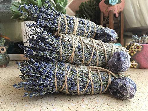 WHG422 Floral Smudge Stick,Lavender,Blue Sage and Amethyst Smudge Bundle 8 Inch