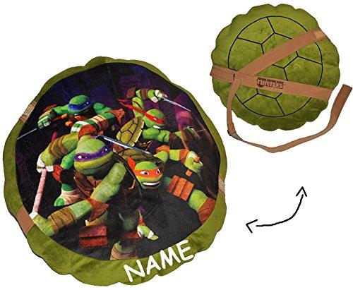 alles-meine.de GmbH Teenage Mutant Ninja Turtles - Kissen - incl. Name / 44 cm * 44 cm - Kuschelkissen / Schildkrötenpanzer - groß sehr weich Kinder Schmusekissen Schildköte Jung