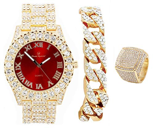 Mens Gold Big Rocks Bezel Blood Red Dial with Roman Numerals Fully Iced Out Watch w/Cuban Chain Bracelet & Ring Size 9- Blood Red/Gold - ST10327CRG (9)