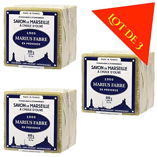 Lot de 3 savons de MARSEILLE à L'HUILE D'OLIVE - Cubes de 600g - Marius Fabre …