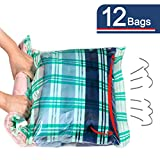 12 Compression Bags, Travel Space Saver Bags for Clothes, Roll-Up Bags no Pump Needed (12-Travel)