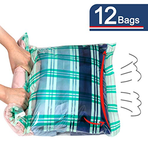 Storage Master 12 Compression Bags, Travel Space Saver Bags for Clothes, Roll-Up Bags no Pump Needed (12-Travel)