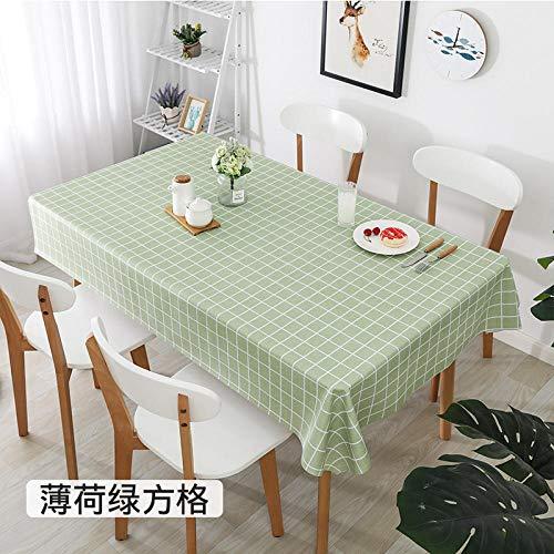 PengMu tafelkleed, vuilafstotend, antislip, oliebestendig, mintgroen pvc-plaid, afwasbaar, onderhoudsvriendelijk, stofdicht voor eettafel