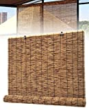 GZGLZDQ Estores Retro de Bambú Persianas de Madera Natural Persianas Anti-UV a Prueba de Polvo Cortina Decorativa para Interior Jardín Patio Ventana Puerta Cocina (Tamaño : 1x2m/39x79in)