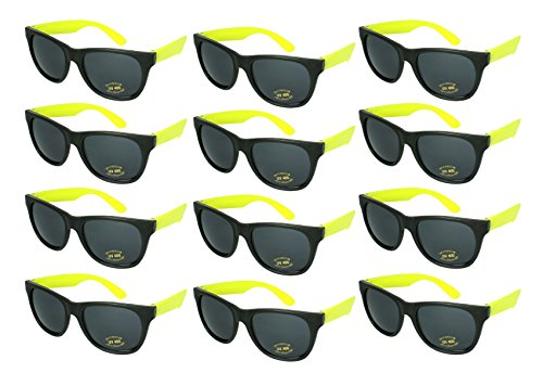 Edge I-Wear 12 Bulk 80s Party Sunglasses Neon Sunglasses for Adult Party Favors 5402RA/Y-12