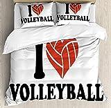 HUA JIE Bedding Set Juego Juego Funda Nórdica Voleibol, I Love Volleyball Typography with A Ballheart Sports Admirer, Juego Cama 3 Piezas