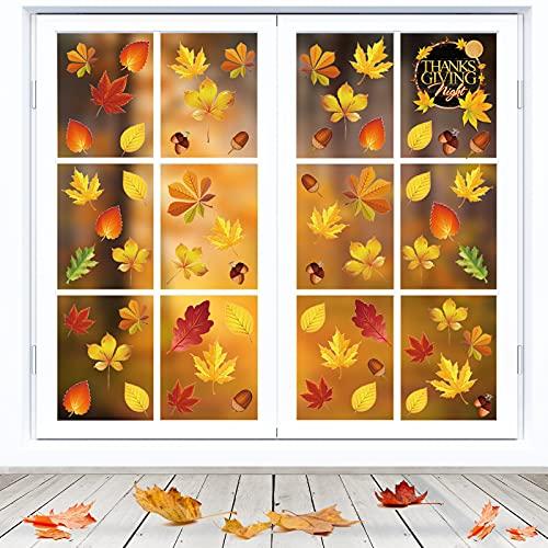 Herbstblatt Fenster Aufkleber,Thanksgiving Fenster Dekorationen,Herbst Blätter Fensteraufkleber,Herbstdekoration Fenster,Herbst Fensterbilder,für Kinderzimmer Cafe Buchhandlung (9 Blätter)