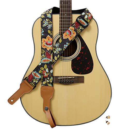 """MUSIC FIRST Diseño original, 5 cm de ancho (5 cm), estilo rústico francés vintage """"Floral"""" suave de algodón y piel auténtica para guitarra, correa de ukelele, correa de mandolina"""