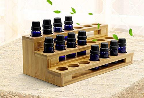 MKNZONE Hölzern Aromatherapie Ätherische Öle Aufbewahrungsständer - 18 Löcher Natural Pine Kosmetik Anzeige Regal, Ideale Präsentationständer für Parfüm Nagellack Ätherische Öle