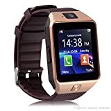 DZ09 Bluetooth Smart Watch Phone + Camera SIM Card for Android iOS Phones iPhone (Gold)