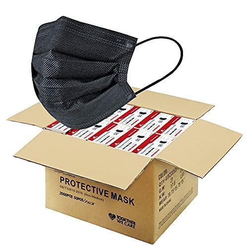 2000 PCS Black Disposable Face Masks (40 Packs, 50pcs/pack), Wholesale Bulk Disposable Mask, Non Woven Thick 3-Layers Masks Cup Dust Masks for Business School PPE