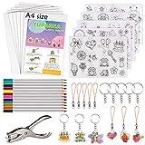 TUPARKA 60 Pcs Feuilles Plastique Fou,la Chaleur Shrinky Feuilles Creative Pack incluent 10 Papier Shrink Film Blank et 5 Shrinky Papier d'art avec Motif, perforeuse
