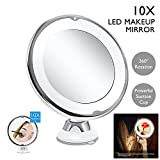 Ssgthbfhf - Espejo de Maquillaje (10 aumentos, luz LED, luz Blanca, con Base de...