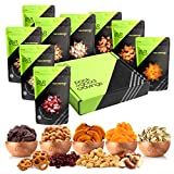 Dried Fruit & Fresh Nuts Mix Gift Basket, Green Box (9 Bags) - Variety Care Package, Birth...