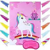 N\O Pin The Horn on Unicorn, Juego de Fiesta de cumpleaños de Unicornio, Suministros para Juegos de Fiesta de cumpleaños para niños, 12 Pegatinas y máscaras para los Ojos