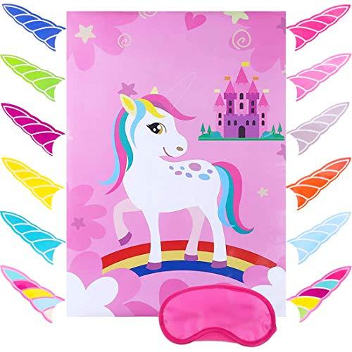 N\O Pin The Horn on Unicorn, Juego de Fiesta de cumpleaños de Unicornio, Suministros para...
