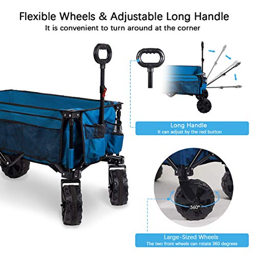 Timber Ridge Folding Wagon Collapsible Utility Big Wheels Shopping Cart for Beach Outdoor Camping Garden All Terrain, Heavy Duty Portable Grocery Cart with Side Bag, Cup Holders