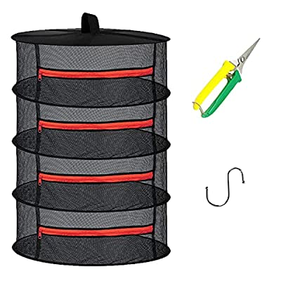 Herb Drying Rack Net 4 Layer hanging Drying Rack Net with Zipper, 2ft Plant Drying Rack Net with Pruning Scissors, Hook, for Drying Seeds, Herb, Bud, Hydroponic Plants