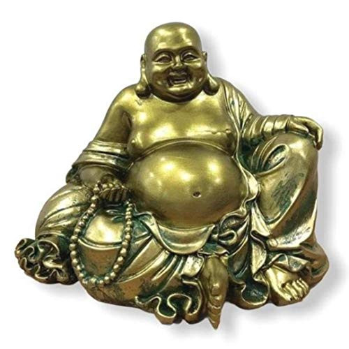 """Happy, Laughing Buddha Statue – 6.5"""" Inches High - Handmade, Antique Gold Style - for Feng Shui Good Luck, Wealth and Happiness – Essence of Joy"""