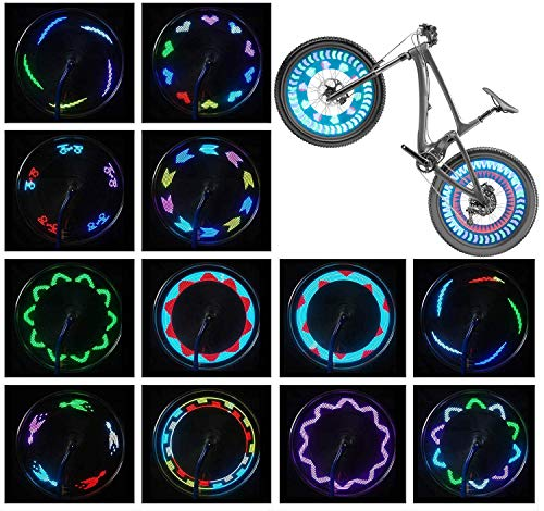 Bike Wheel Lights (2 Tire Pack) - LED Bicycle Wheel Lights, Waterproof Bike Tire Lights Bike Spoke Lights, Cool Adult and Kids Bike Accessories, Ultra Bright 30 Patterns 14 LED Bike Lights for Wheels