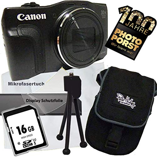 1A Photo PORST jubileumaanbieding Canon Powershot SX710 HS zwart digitale camera + SD 16 GB geheugenkaart + beschermfolie voor display + mini statief + microvezeldoek