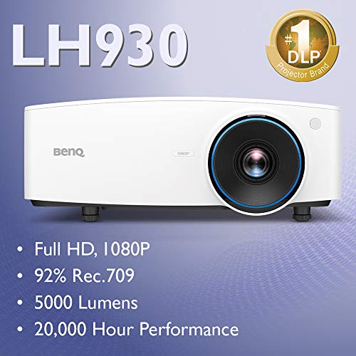 BenQ LH930 1080p DLP Lamp-Free Laser Projector, 5000 ANSI Lumens, Color Accurate, Maintenance-Free, 24/7 Operation, Lens Shift, 20,000 Hour Laser Life, Network Control, HDMI