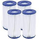 WRYIP Cartucho de filtro para piscina Intex tipo A o C, para filtro de piscina Easy Set, tipo III filtro de repuesto para bomba de filtro Bestway (4 unidades)