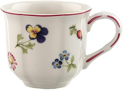 Villeroy & Boch Petit Fleur Coffee, Delicate Cup Maofof Premium Porcelain with Filigree Relief and Flower and Fruit Motifs, 200 ml, White