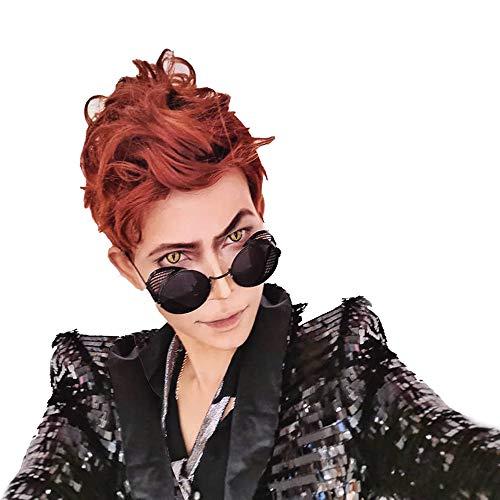 Crowley Wig Good Omens Demon Curly Orange Brown Hair Men Cosplay Costume Halloween Fancy Dress Accessories
