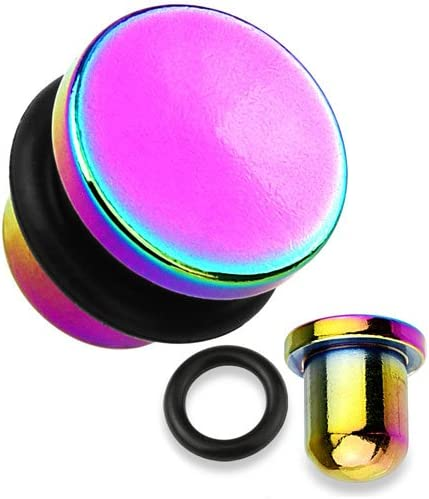 WildKlass Jewelry Rainbow Flat Top Titanium 2G (6.5mm) Single Flare PlugSold as Pairs
