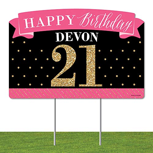 Big Dot of Happiness Personalized Finally 21 Girl - 21st Birthday Party Yard Sign Lawn Decorations - Happy Birthday Custom Name Party Yardy Sign