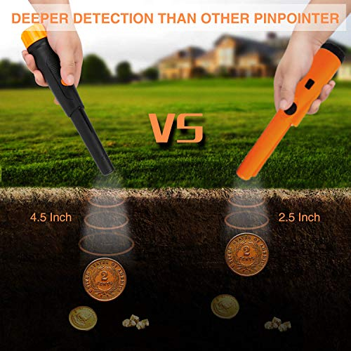 SUNPOW Metal Detector Pinpointer IP68 Waterproof Handheld Pin Pointer Wand with Belt Holster Treasure Hunting Tool Accessories, Buzzer Vibration Sound (Three Mode)