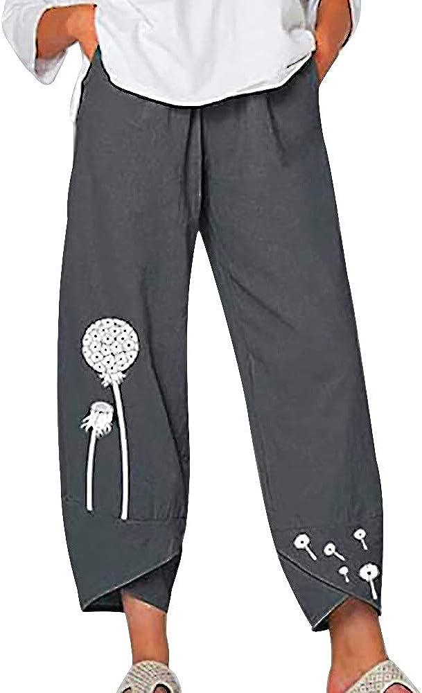 Women's Sale Linen Pants Beauty products Loose Cropped Leg Wide Dandelion Flora