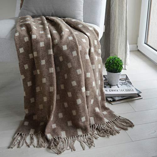 Linen & Cotton Plaid di Lusso, Coperta Copriletto Emma, 100% Lana Merino - 140 x 200cm (Marrone/Ecru)