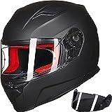 ILM Motorcycle Street Bike Full Face Helmet Anti-Fog Pinlock Shield Snowmobile Helmets DOT for Men Women (Matt Black, M)
