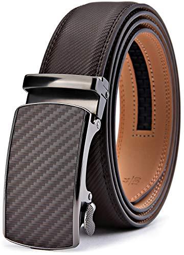 BULLIANT Gürtel Herren,Leder Automatik Gürtel für Männer Kleidung, Größe Angepasst, 012-dunkelbraun203, 130cm/36-44taille verstellbar