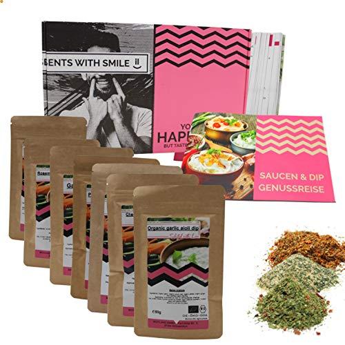 Saucen & Dips 7x50g Gewürzmischungen I besondere Gewürzmischungen für Dips zum selber machen I Geschenkbox für Genießer Männer Frauen Hobbyköche