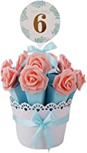Decorative Candy Box Wedding Party Favor Gift Box, Light Blue Box + Pink Flower