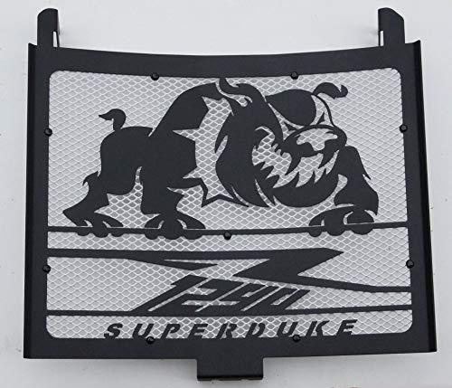 Cache radiateur/Grille de radiateur 1290 R Superduke Tous modèles Noir satiné Bulldog + Grillage Blanc